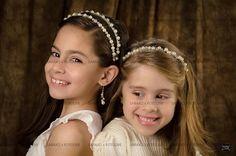 Tiara para primera comunion doble y sencilla de perlas con cristal