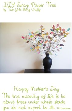 """DIY mother's day gift ideas- make paper and write on each leaf what you love about your mom. """"the maning of a mom tree"""""""