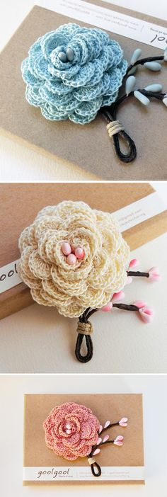Crochet rose boutonniere, single rose lapel flower by goolgool. ~ Added to this board, but link not yet checked on 03/30/2015