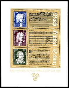 This souvenir sheet was issued to mark the anniversary of the birth of J. Bach and G. Handel, and the anniversary of the birth of Heinrich Schütz, composers. Feldkirch, Dresden, East Germany, Friedrich, Postage Stamps, Ebay, Music, Concerto Grosso, Culture