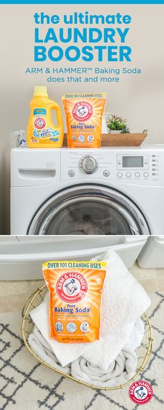 Here's a must-have tip for you next laundry day. Add 1/2 cup of ARM & HAMMER™ Baking Soda to your load to help balance your water's ph. This will give you cleaner and fresher clothes. Then simply add your normal detergent and wash as usual. It's the easy and effective way to get loads of ahh-mazing laundry.