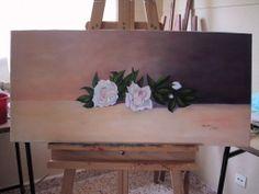 Rosas brancas, pintura em tela com técnicas mistas, trabalho meu