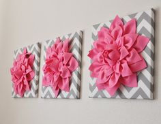 "Pink Wall Art -SET OF THREE Pink Dahlias on Gray and White Chevron 12 x12"" Canvas Wall Art- Home Decor on Etsy, $93.00"