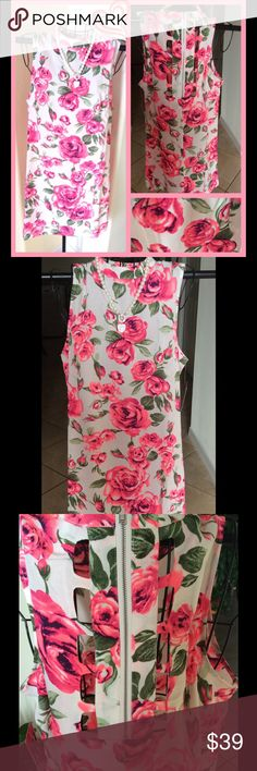 "GORGEOUS SHEER FLORAL DRESS💞 Beautiful white and pink floral dress 🔸size small 🔸length 32"" approx , bust 18"", waist 20""🔸super light material 🔸new with tags 🔸100% polyester🔸perfect summer dress🔸necklace included🔸 Dulce carola Dresses Midi"
