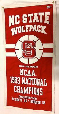NC State Wolfpack 1983 NCAA Jim Valvano Basketball Banner