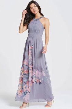 Little Mistress Grey Floral Print Chiffon Maxi Dress - Little Mistress from Little  Mistress UK Chiffon 17fa2023582
