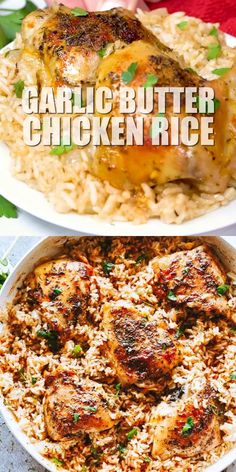 GARLIC BUTTER CHICKEN AND RICE! Bursting with rich buttery garlic flavor and tender chicken thighs, this is a one pot chicken and rice dinner guaranteed to impress even the pickiest eaters! # Food and Drink dinner videos Easy Chicken Thigh Recipes, Chicken Rice Recipes, Mexican Chicken And Rice, Garlic Recipes, Baked Chicken With Rice, Easy Supper Ideas Chicken, Chicken Thigh Meals, Baked Chicken Meals, Recipes With Cilantro