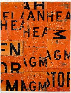 Rosalie Gascoigne  Party Piece, 1988  sawn reflective road-signs on plywood  108 × 83.5cm