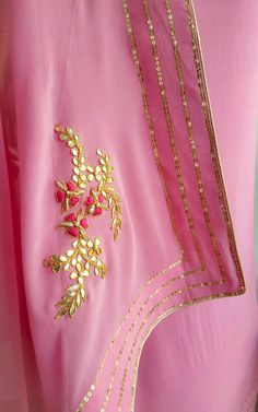 Light Pink Sequins Border Saree with Gota Patti Blouse Embroidery Suits Punjabi, Zardozi Embroidery, Embroidery Suits Design, Hand Work Embroidery, Hand Embroidery Designs, Embroidery Dress, Designer Punjabi Suits, Indian Designer Wear, Bridesmaid Saree