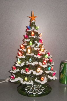 Traditional Ceramic Christmas Tree with Snow 15 by SueSueSueCrafts, $95.00  Grandma's tree