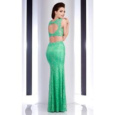 Clarisse 2716 Prom Lace Dress Long High Neckline Sleeveless ($278) ❤ liked on Polyvore featuring dresses, formal dresses, mint, mint lace dress, high neck prom dresses, two piece prom dresses, formal cocktail dresses and long cocktail dresses