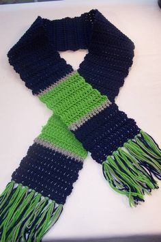 Blue and Green Sporty Scarf - Great for Seahawk fans