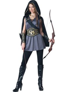 Adult Huntress Costume - Party City Okay, so I'm either getting this...  or the blue Greecian dress for Halloween.  AUGH CHOICES.