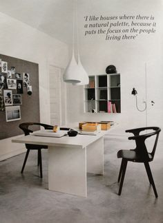 Elle Decoration Magazine. No253. September 2013. 'Fresh Direction' article. Copenhagen period property renovation. I would love this as a home office/studio space... I could never keep it this tidy though!