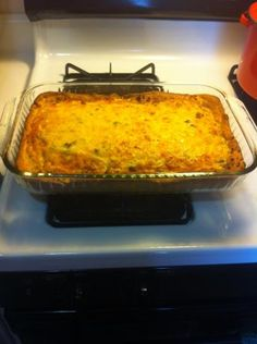 Breakfast Casserole With a Biscuit Crust. Quick, Easy, and Delish! Needs to cook for a shorter amount of time. Probably 425 for 30 or 350 for 45