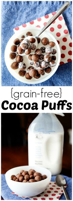 Homemade Grain-Free Cocoa Puffs from LauraFuentes.com