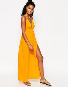 ASOS Deep Plunge Maxi Beach Dress