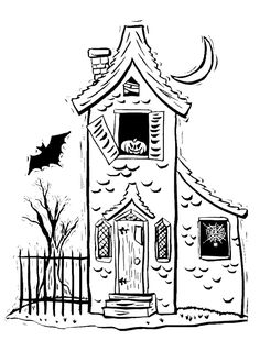 Spooky House Coloring Page | Purple Kitty