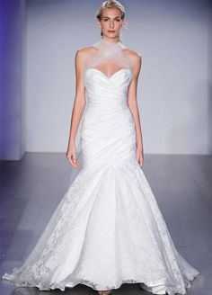 Ivory Tuileries organza bridal gown, strapless sweetheart neckline, asymmetrical draped elongated bodice, sweep train. Bridal Gowns, Wedding Dresses by Jim Hjelm Bridal - JLM Couture - Bridal Style jh8509 by JLM Couture, Inc.