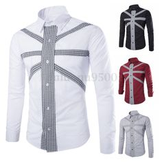 New Mens Slim Fit Casual Suits Formal Long Sleeve Dress Shirt Tee Top Designed #PODOM #Western