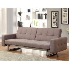 Furniture of America Sherlie Modern Brown Convertible Futon Sofa