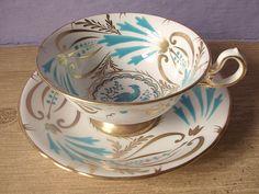 Antique tea cup vintage 1940's Royal Chelsea hand painted.