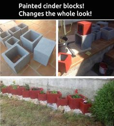 Hacks Paint cinder blocks & liven up any border or flower bed. Cheap and easy!Paint cinder blocks & liven up any border or flower bed. Cheap and easy! Cinderblock Planter, Container Gardening, Gardening Tips, Flower Gardening, Flower Planters, Vegetable Gardening, Cinder Block Garden, Cinder Blocks, Cinder Block Ideas