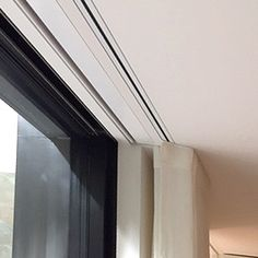 Innovative solutions to recess curtain tracks from companies such as Somfy, Lutron and Silent Gliss. Ceiling Mounted Curtain Track, Curtain Rails, Recessed Ceiling, Wave Curtains, Ceiling Curtains, Window Curtains, Curtains On A Track, Ceiling Detail, Ceiling Design