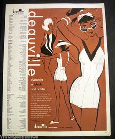 1960 Illustrated Girls in Deauville Swimsuits 60's Fashion