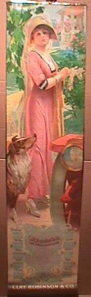 1913 CLAY ROBINSON YARD LONG CALENDAR PRINT -FARMERS DAUGHTER- COLLIE- WITH ROLL