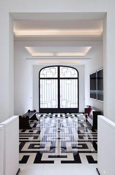 black & white floors.