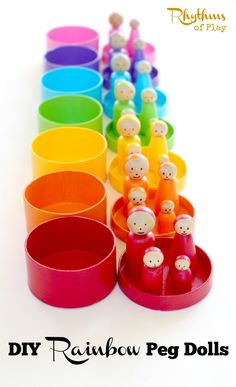 These DIY rainbow peg dolls are simple for older kids, tweens, teens and adults to make. They are perfect for pretend play and color matching games. Kids Craft | Imaginative Play | Color Matching | Kids Activities | DIY Toys | Montessori | Waldorf