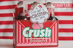 "Day 11: I've got a ""crush"" on you I went with the strawberry flavor to keep with the red/pink theme, but you could totally get the orange if you would rather (and it doesn't have to be the glass bottles... I just got them so I could use one of them for the love potion)"