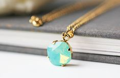 Sea Foam Green Opalescent Swarovski Necklace Crystal Pacific Opal Square Gold Pendant Necklace by KaoriKaori