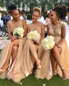 champagne bridesmaid dresses 2020 sheer crew neckline side slit pearls beading sequins a line champagne evening dresses wedding party dresses African Bridesmaid Dresses, Champagne Bridesmaid Dresses, Tulle Bridesmaid Dress, Wedding Bridesmaids, Wedding Party Dresses, Wedding Attire, Champagne Evening Dress, African American Weddings, Dream Wedding