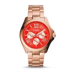 #Fossil Cecile Multifunction Stainless Steel Watch in Rose