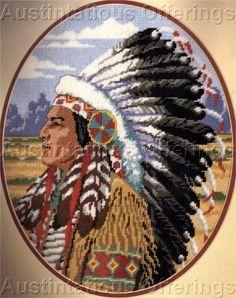 Rare Powell NativeAmerican Chief Needlepoint Kit Western Warrior