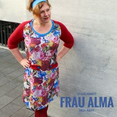 Frau Alma, Hedi näht, Schnittmuster, Raglankleid, Sommersweat, Stahlarbeit, Color blocking, Curvy sewing