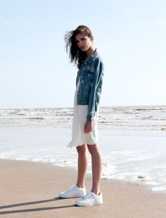 Summer Style | Little White Dress Topped with Denim Jacket | LA COOL & CHIC