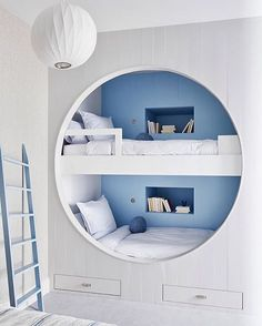"""Bunk beds perfectly reimagined by @ayromloo.design 🙌🏼  Colors: 'Provence Blue' (inset) & 'Gardenia' Featured in @hamptonsmag Photo…"" Interior Paint, Interior Design, Paint Companies, Chic Nursery, Nursery Design, Bunk Beds, Provence, Storage, Instagram Posts"
