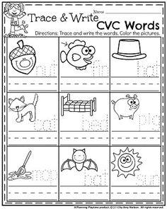 November Preschool Worksheets - Trace and Write CVC Words. Teaching Time, Teaching Kindergarten, Student Teaching, Teaching Ideas, Fall Preschool, Preschool Activities, Speech Activities, Halloween Activities, Cvc Words