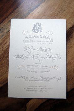 Letterpressed Wedding Invitations Orleans by elfletterpress