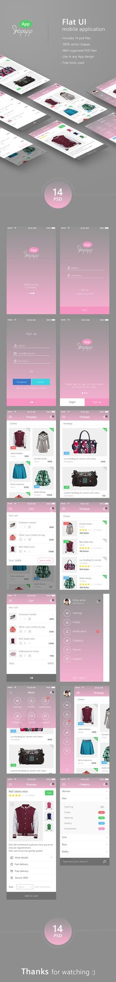 https://www.behance.net/gallery/22634455/Shopapp-Flat-Mobile-App-UI-Shopping-Download