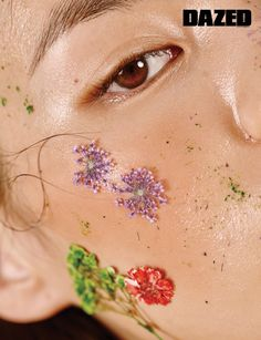 For Spring- instead of a flower crown, use dried flowers on skin for a second look.