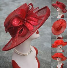 New Womens Kentucky Derby Wedding Sinamay Ascot Church Wide Brim Dress Hat Race Day Hats, Red Hat Society, Lady In Waiting, Church Hats, Pink Hat, Dress Hats, Ascot, Kentucky Derby, Red Purple
