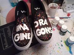 Imagine Dragons Handpainted Shoes / ideas / converses vans toms / handmade / choose your design / galaxy / music by Babadunga on Etsy