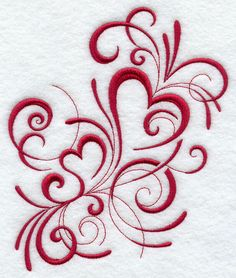 Inky Red Hearts - Embroidered Decorative Linen Kitchen Dish Towel or Absorbent…