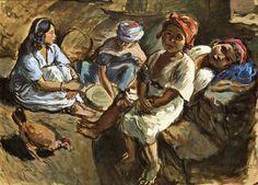 Peinture Algérie - La préparation du couscous by Charles Brouty