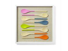 Painted wooden spoons + deep picture frame + linen = new #DIY #kitchen art #hgtvmagazine http://www.hgtv.com/handmade/diy-kitchen-art-how-to-painted-spoons/index.html?soc=pinterest