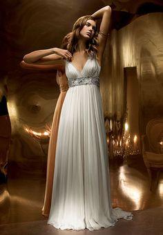 Jenny Packham, Classic , Autumn/Winter 2008 Style : Anne   DRESS DETAILS Colour : Ivory, white, champagne Fabric : chiffon, silk Style : Empire line Neckline : V-Neck Embellishment : beading
